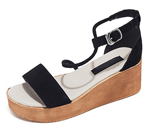 Mot cingulaire sandales à bout ouvert sandales plate-forme de muffins femme Black