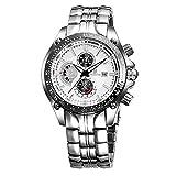 CWYPB Männliche Uhren Edelstahl-Gurt Leuchtend Quarzuhren Kalender Runde Wasserdichte Uhr Volle Länge: 225Mm,White