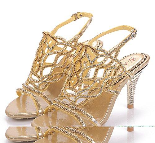 Honeystore Frauen Stöckel Absatz Sandalen Slingpumps mit Strass Schuhe Gold