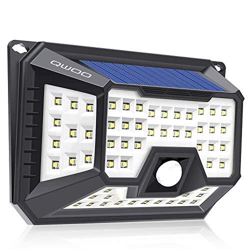 66 LEDs Solarleuchte LED Solarlampe, QWOO Außenwandleuchten Bewegungsmelder solarlicht für außen, 270 °Weitwinkel, IP65 Wasserdicht,3 Modi Hitzebeständig, für Garten, Garage, Innenhof und Balkon