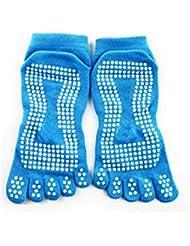 Nouveau Gym Sport exercice de yoga chaussette antidérapant en coton Blue