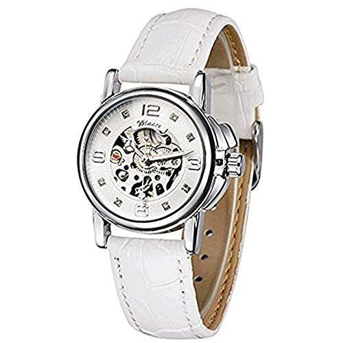 Gute Damen Weiß Skelett Analog Steampunk Automatik Mechanik Armbanduhr Weiß Lederband