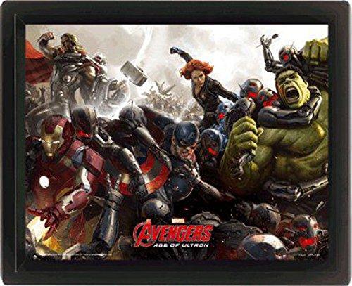1art1-87469-The-Avengers-Age-Of-Ultron-Battle-3D-Poster-gerahmt-25-x-20-cm
