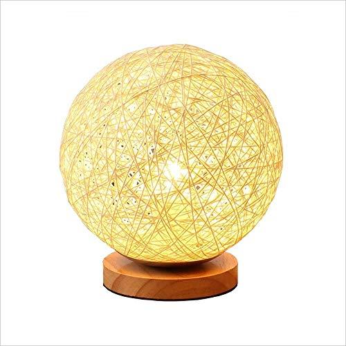 Sphärische Kreative Warme Romantische Schlafzimmer Nachttischlampe Dimmen Nachtlicht Schreibtischlampe Hause Rattan Ball Lampenschirm 12 * 18 * 15 Cm Augen Schützen -
