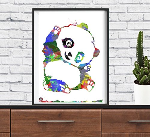 ours-panda-animaux-hobby-funny-art-print-aquarelle-art-mural-nursery-decoration-murale-poster