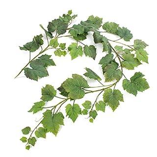 artplants Deko Weinblätter Girlande ATHINA, 62 Blätter, grün, 180 cm - Künstliche Girlande/Kunst Blätter
