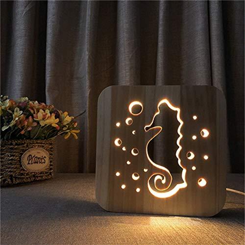 Nachtlicht 3D Holz Led Seepferdchen Design Warmes Licht Usb Power Nachtlicht Als Geburtstagsgeschenk Raumdekoration