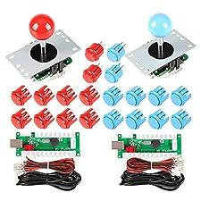 EG STARTS 2 giocatori USB Controller per PC Game 2x 5Pin Stick + 4x 24mm + 16x 30mm Pulsanti per giochi arcade Kit armadietti fai da te Parti Mame SNK KOF Raspberry Pi Retropie Progetti e rosso / blu