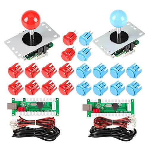 EG STARTS 2 Spieler USB Controller auf PC Spiel 2x 5Pin Stick + 4x 24mm Druckknopf + 16x 30mm Tasten für Arcade-Spiele DIY Cabinet Kits Teile Mame SNK KOF Raspberry Pi Retropie Projekte & rot / blau (Arcade-cabinet Controller)