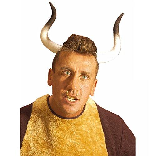 Stierhörner Haarreif Stier Hörner Haarreifen Büffelhörner Fasching Kopfbedeckung Kopfschmuck Tierhörner Junggesellenabschied JFA Party Tier Mottoparty Accessoire Karneval Kostüm - Kostüm Stier Hörner