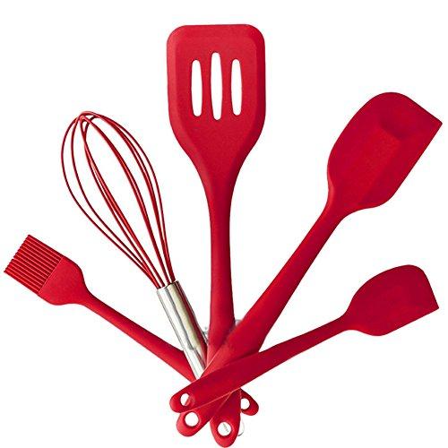 newhouse Premium Silikon Küchenhelfer-Set (5 Stück) in Hygienic feste Beschichtung - Bonus 101 Cooking Tips (Cherry Red)