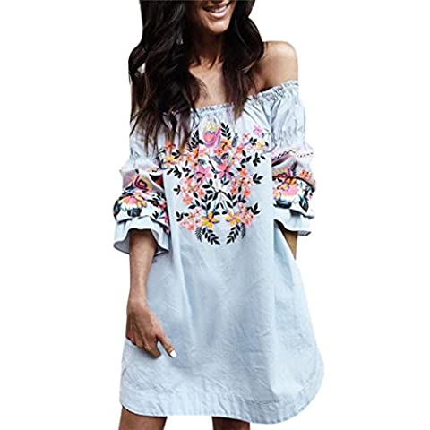 Letter Fashion Women Floral Dress Ladies Summer Beach Party Off Shoulder Mini Dress (Blue, S)