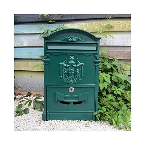 DYFYMX Traditionelle Mailbox mit Royal Badge - Grün Briefkasten im Freien,