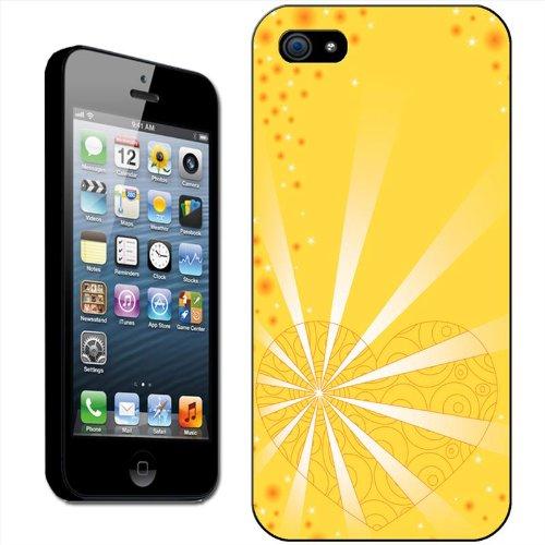 Cœurs Coque arrière rigide détachable pour Apple iPhone modèles, plastique, Angel Heart, iPhone 5C Yellow Radiating Heart
