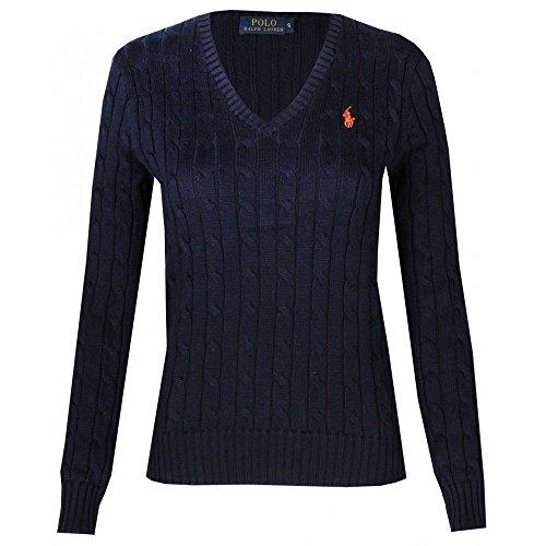 Polo Ralph Lauren Cable Knit V-Neck Cotton Pullover Kimberly M Navy (Ralph Pullover Lauren Polo)