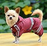 Aution House - Mascota Perro Impermeables Chubasqueros para Pequeños y Medianos Perros - Impermeable Chanqueta con Capucha -Lluvia Impermeable - Lluvia Poncho (XL, ROJO OSCURO)