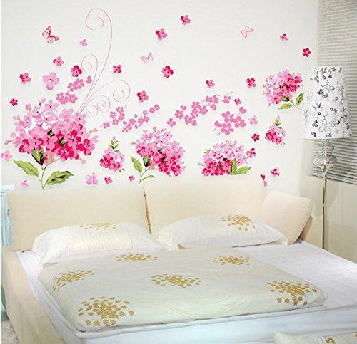 Ufengke® romantico rosa fiori di ortensia adesivi murali, camera da letto soggiorno adesivi da parete removibili/stickers murali/decorazione murale, l