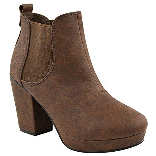 Donna Casual Slip Pull On Elasticizzato Mid Stivali alla Caviglia Chelsea Tacco a blocco Stivaletti Scarpe Taglia Marrone similpelle