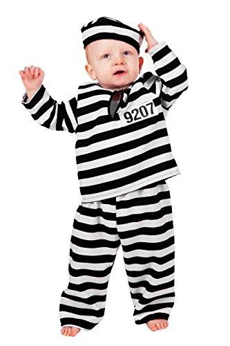 Jannes - Kinder-Kostüm Sträfling, schwarz weiß, Kleinkinder 86
