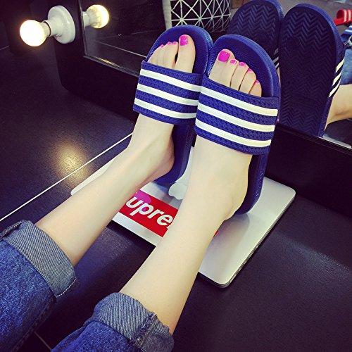 DogHaccd pantofole,Maschio e femmina estate estate bagno pantofole ciabatte da bagno incantevole coppie di striature di camera, soggiorno casa cool pantofole Blu scuro3