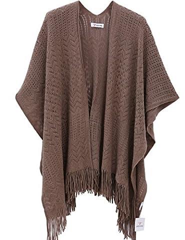 Femmes Tricoter Chale,Kimono Cardigan Cape Wrap Couvrez-vous Pashmina Echarpe(Taille unique,Marron)