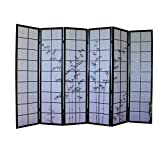 Homestyle4u 288 Paravent 6 teilig Raumteiler 6 fach Holz Schwarz Shoji Reispapier weiß mit Bambus Motiv Trennwand Spanische Wand Sichtschutz klappbar