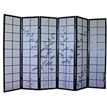 6 fach Paravent Raumteiler Trennwand schwarz Bambus Sichtschutz Spansiche Wand