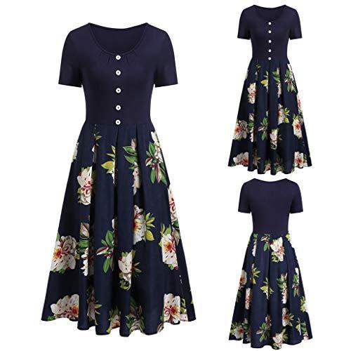 Sleeveless Geraffte Spitze (Wawer Damen Kleid  Mode Frauen Kurzarm Blume Print Geraffte A Line Button langes Chiffon Kleid, Beiläufiges Strandkleid Sommerkleid Tank Kleid)