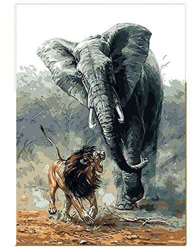Guerra de leones y elefantes Pintura por número DIY Animal Pintado a...