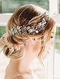 Deniferymakeup mariée Or rose Perle et fleur de perles de cristal Feuille mariée cheveux Vigne