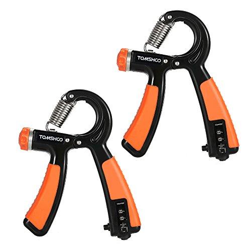 TOMSHOO 2PCS Handtrainer Fitness Fingerhantel Fingertrainer Handgriff 22-88lbs einstellbare Widerstand (Orange)
