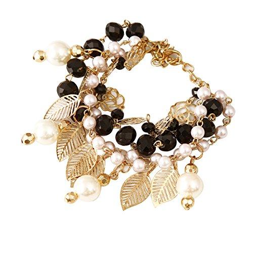IGP Chic Leaf Design White And Black Crystal Studded Charm Bracelet For...