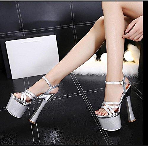 GTVERNH-Alta Nozze D Argento Scarpe Con Spessore Impermeabile Modello Taiwan Night Show Scarpe E Sandali 18Cm Ultra 40 40