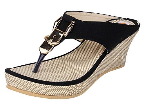 Digni la mode des sandales occasionnels plate-forme de coin de glissement des femmes sur Beige avec noir