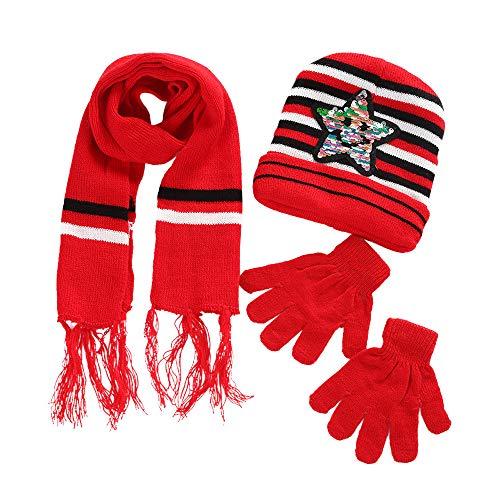 ODJOY-FAN Kinder Hut Schal Handschuhe Set Häkeln Hüte Pelz Wolle Strickmütze Waschbär Warme Kappen Schal Handschuhe Winter (Scaf :110 X 14,Hut:17 X 19,Handschuh: 14 * 14 cm)(Rot,1 Set)