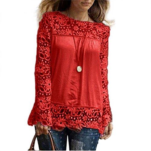 AMUSTER Moda Donna Sciolto Cotone Top T Shirt Manica Lunga Camicia Camicetta Di Pizzo Casual RASSO