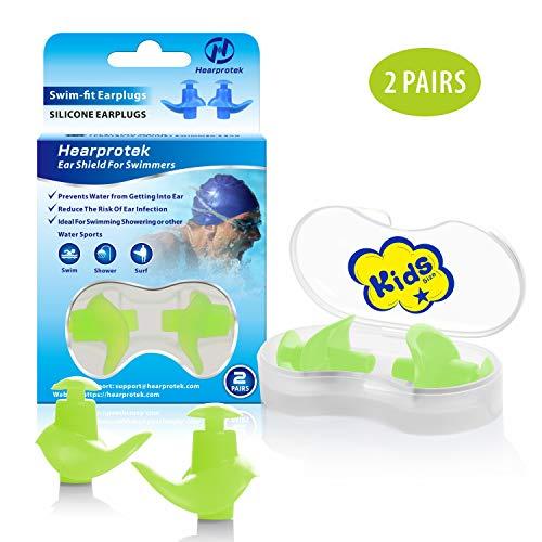 Hearprotek Ohrstöpsel Schwimmen Kinder, 2 Paar wasserdichte Wiederverwendbare Silikon Ohrstöpsel für Schwimmer beim Duschen beim Surfen und Anderen Wassersportarten (Grün)