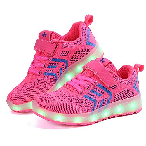 zicai LED Sportschuhe für Kinder USB Aufladen Blinkschuhe Jungen Sneakers Laufschuhe Turnschuhe Trainer Blinkschuhe Schuhe Für Mädchen 25-37 (26, rot)