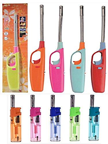1encendedor de gas cuello flexible metal grande + 1encendedor con punta Metal–recargables–Hyper práctica: cocina, barbacoa, velas,…