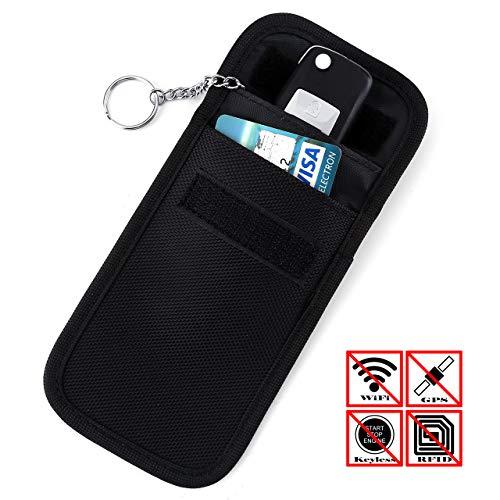 ACBungji Faraday Bag Schutz Blocker Keyless Go Autoschlüssel Tasche NFC Schutzhülle Kreditkarte RFID Smartcard (14 * 9cm, Oxford-Tuch Vertikal Schwarz) 9 Oxford