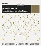 Unique Party 63283 - 66cm Stelle Filanti da Appendere in Plastica Dorate Decorazioni per Feste, Confezione da 8