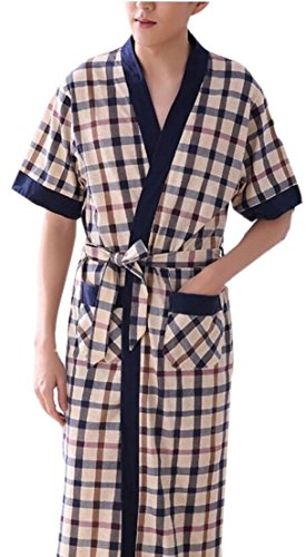 TTYLLMAO Men's Robes Plaid Bathrobe Comfort Sleepwear Kimono Robe