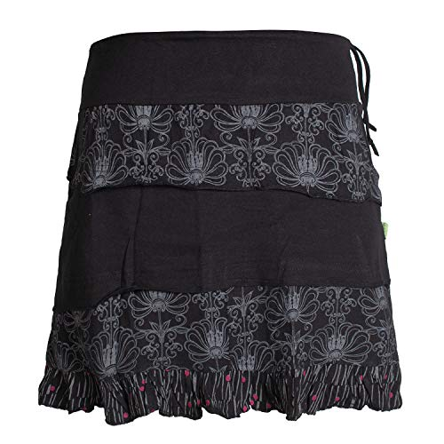 Jersey Rüschen Rock (Vishes - Alternative Bekleidung - Damen Patch-Work Rüschen-Rock - Breiter Dehnbarer Bund und Taschen schwarz 40)