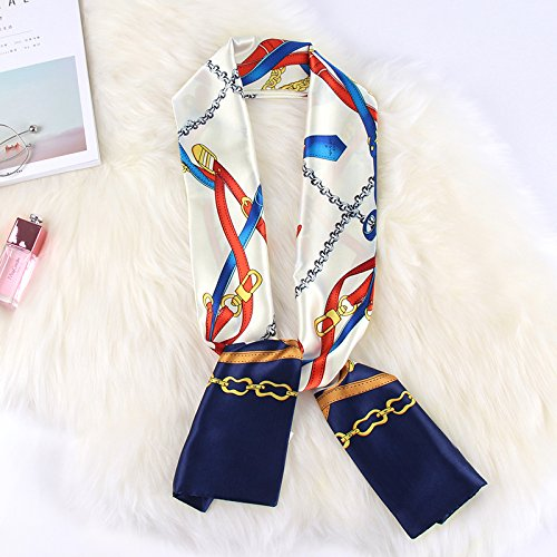 Floral Scarf Belt (RENYZ.ZKHN Ms. All-Match Long Scarf Scarves And Small Scarf Scarf Summer Thin Small Decorative Scarf 14*140Cm,Floral Belt White)