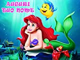 WFWD Cialda in Ostia per Torta Rettangolare Principessa Sirenetta Personalizzata, Ariel, Disney, Princess, cialde, ostie, Torte, Topper, Mis. 20x30 cm