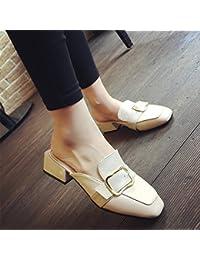 Qingchunhuangtang@@ Baotou Pantofole Pantofole Pantofole Quadrato Piatto,Trentanove,Nero