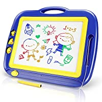 YDPlaier Large Magnetic Drawing Board -4 Colors Erasable Scribble Doodles for Toddlers, 42.5×36cm, Blue