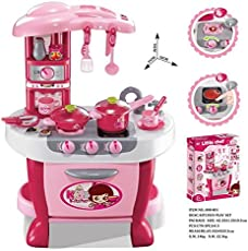 Techhark Little Chef Kids Kitchen Play Set with Light & Sound Cooking Kitchen Set Play Toy (Pink 3 in1)
