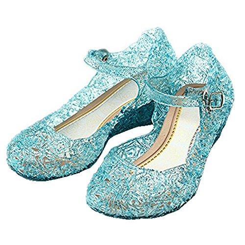 GenialES Disfraz Sandalias de Vestido con Tacón Plástico Princesa Queen Azul para Cumpleaños Carnaval Fiesta Cosplay Halloween Niña