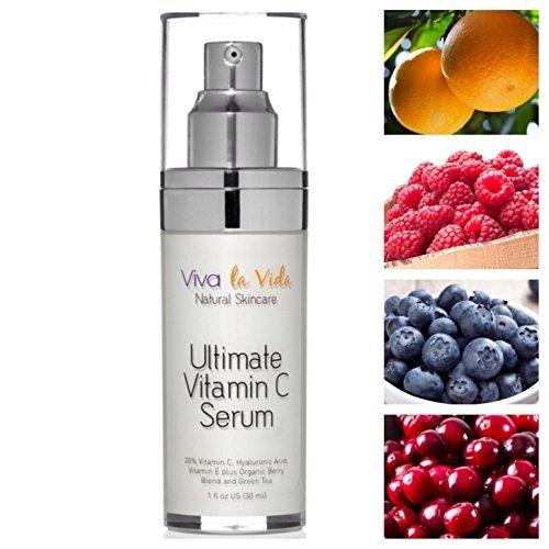 Viva Ultimate Anti Aging Vitamin C Serum 20% Vitamin C Super Antioxidant Berries + Vitamin E + Hyaluronic Acid + Organic Green Tea